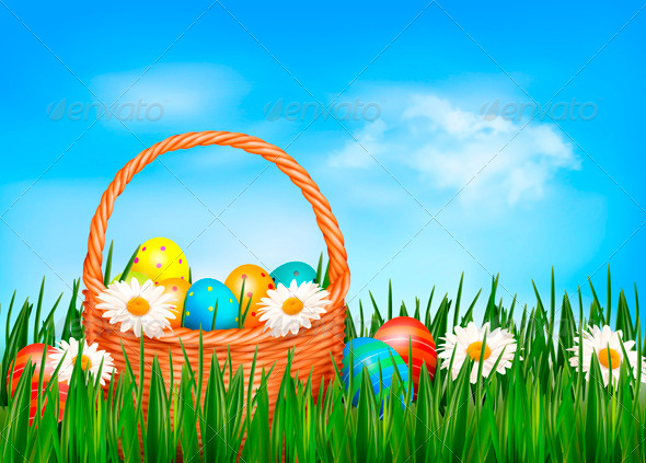 GraphicRiver Easter Background Easter Eggs and Flowers 4216190