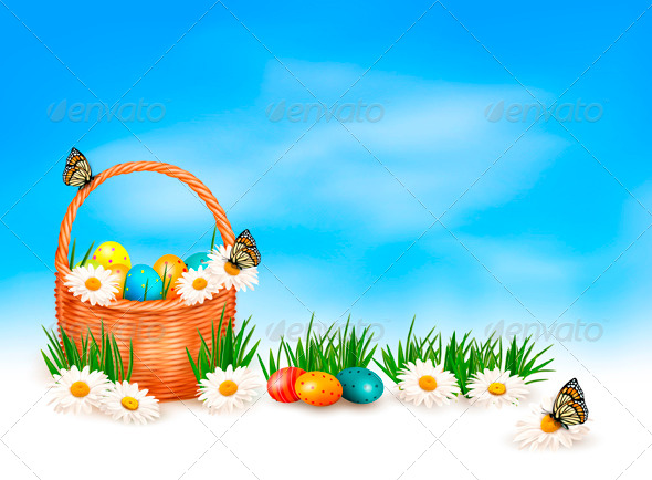 GraphicRiver Easter Background with Easter Eggs in Basket 4216224