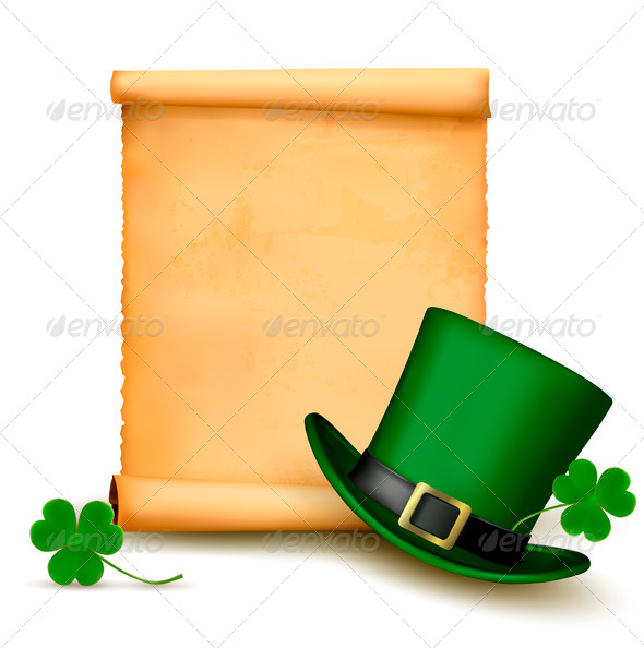 GraphicRiver Background with St Patricks Day Hat with Clover 4216439