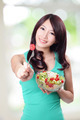 attractive woman smile eating salad - PhotoDune Item for Sale