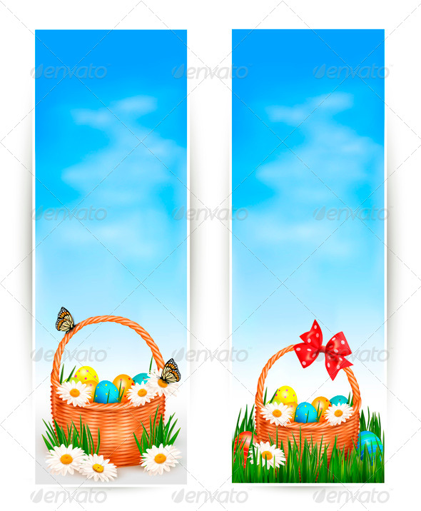 GraphicRiver Easter Banners with Easter Eggs in Basket 4216527
