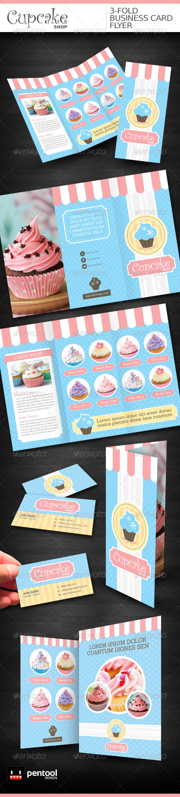 GraphicRiver Cupcake Shop 3-Fold Business Card Flyer 4217152
