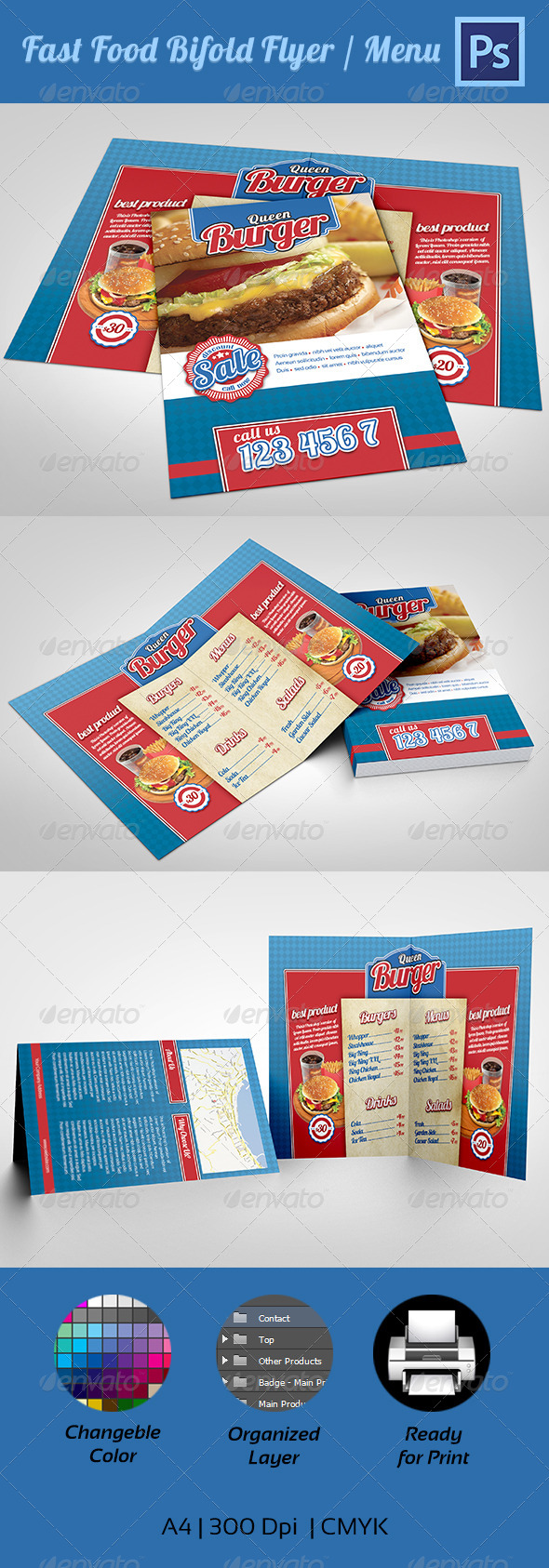GraphicRiver Fast Food Menu Bifold Flyer 4217944