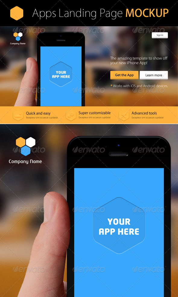 GraphicRiver Mobile App Page Mockup 4218835