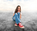 young girl sitting on a floor - PhotoDune Item for Sale