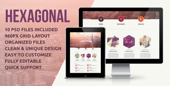 Hexagonal - Unique Business &amp; Portfolio Template - Creative PSD Templates