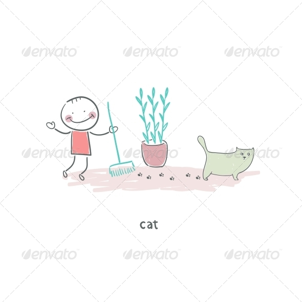 GraphicRiver Man Cleaning up After the Cat Illustration 4220077