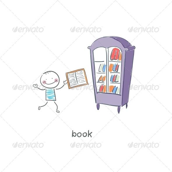 GraphicRiver Reader of Books Illustration 4220091