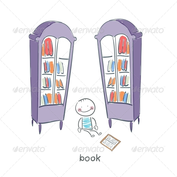 GraphicRiver Reader of Books Illustration 4220097