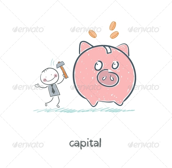 GraphicRiver Man Breaks Piggy Bank with a Hammer Illustration 4220136