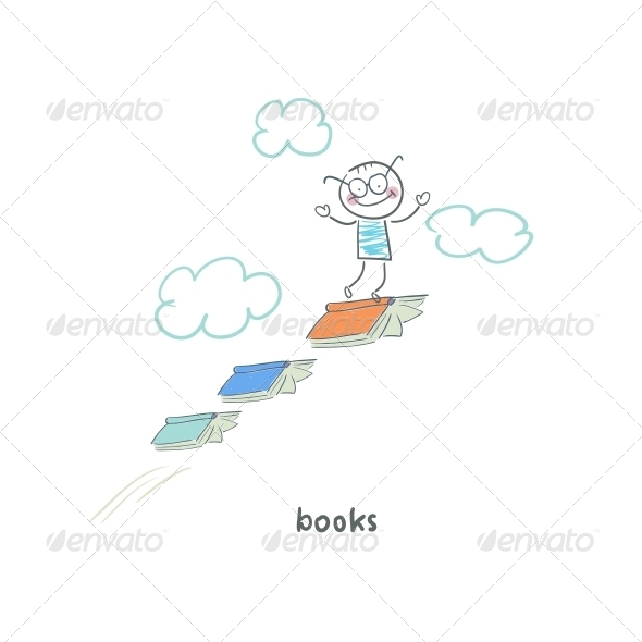 GraphicRiver Reader of Books Illustration 4220150