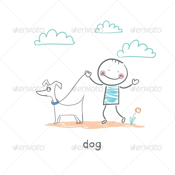 GraphicRiver A Man Walking with a Dog Illustration 4220171