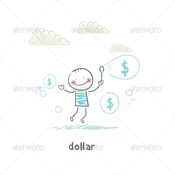 GraphicRiver Dollars Bubbles Illustration 4220216