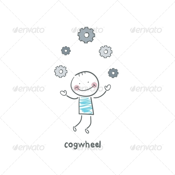 GraphicRiver A Man Juggles Gears Illustration 4220249