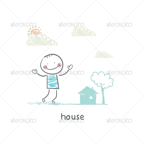 GraphicRiver A Man and a House Illustration 4220341