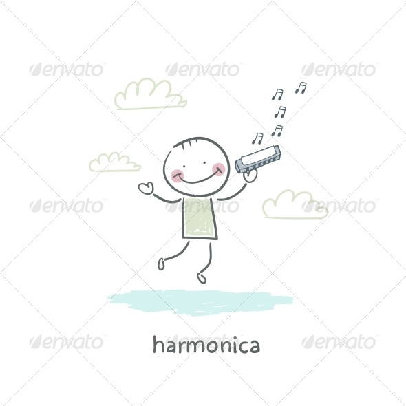 GraphicRiver Man Plays the Harmonica 4220373