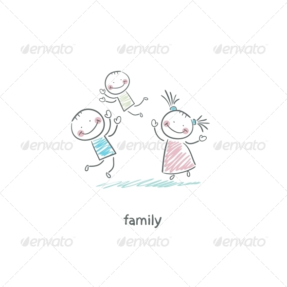 GraphicRiver Happy Family Illustration 4220379