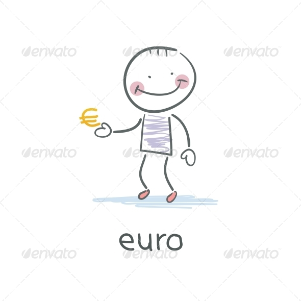 GraphicRiver Man Holding Euro Sign Illustration 4220405
