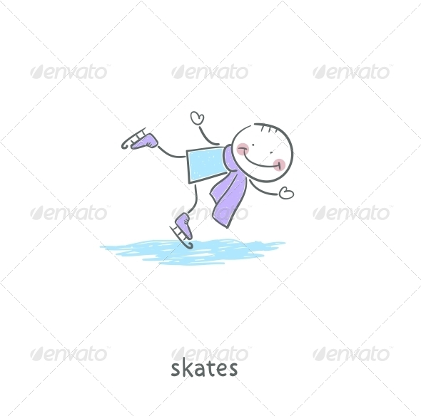 GraphicRiver People Skating on the Ice Illustration 4220740