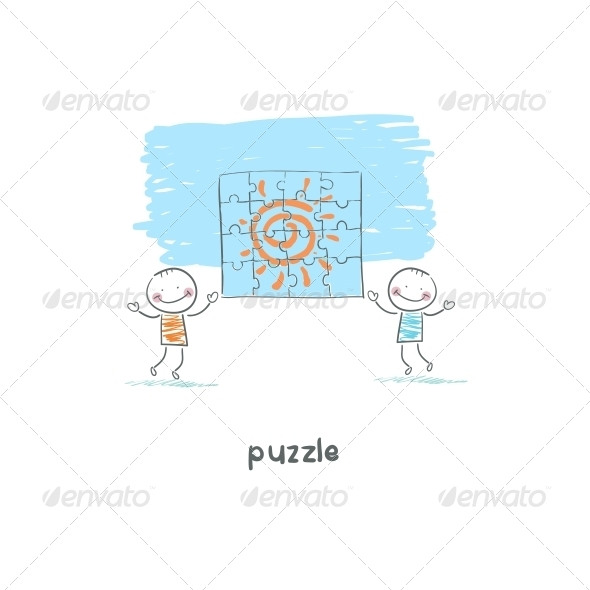 GraphicRiver Man and Puzzle Illustration 4220773