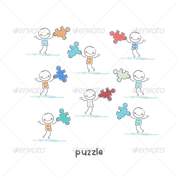 GraphicRiver Man and Puzzle Illustration 4220786