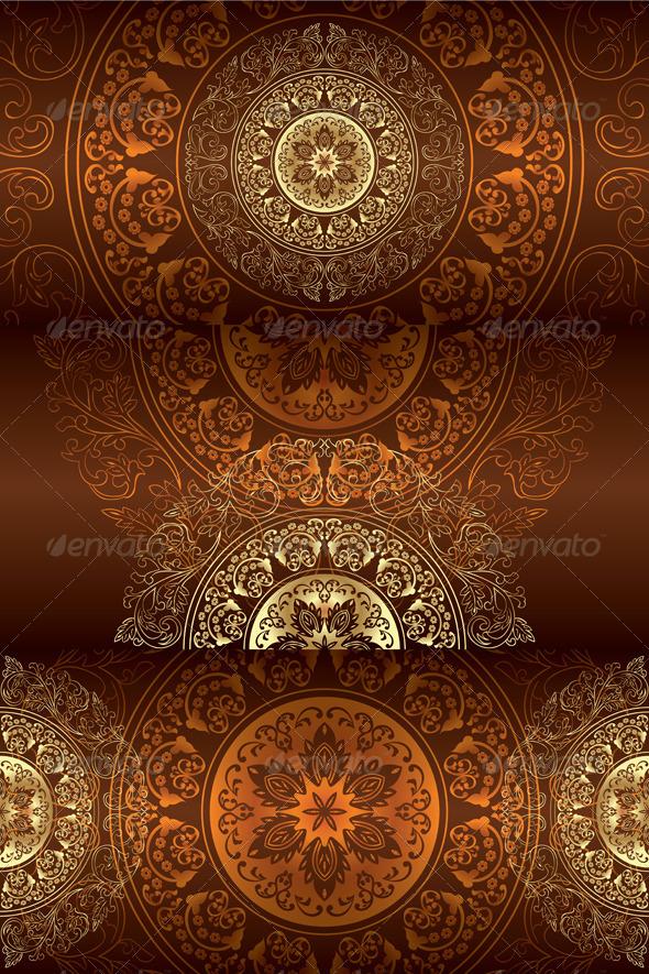 GraphicRiver Set of Brown Vintage Floral Backgrounds 4224351