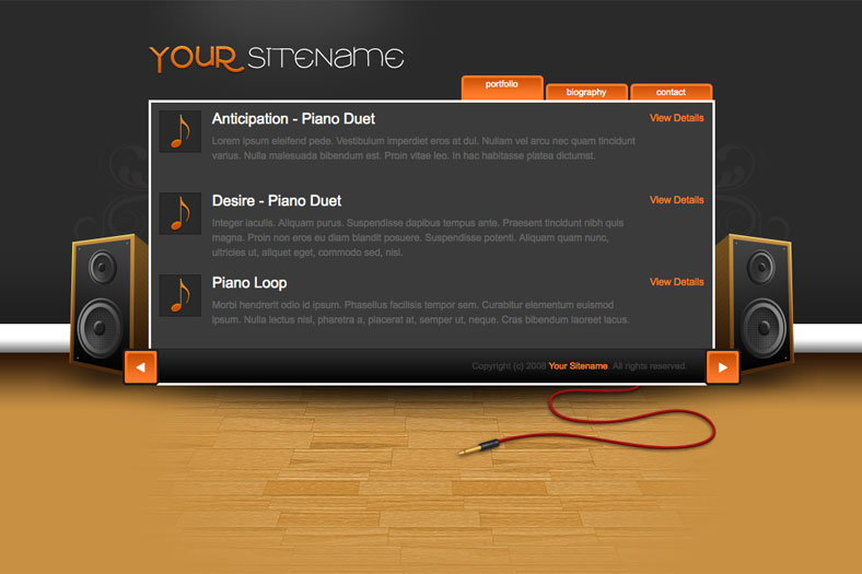 Beatbox - Slick jQuery Animated Audio Portfolio (Degrades Gracefully) - Portfolio item list (orange colour scheme), includes jQuery slider and item fading (degrades gracefully).