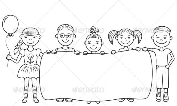 GraphicRiver Cartoon Children Holding Empty Banner 4228106