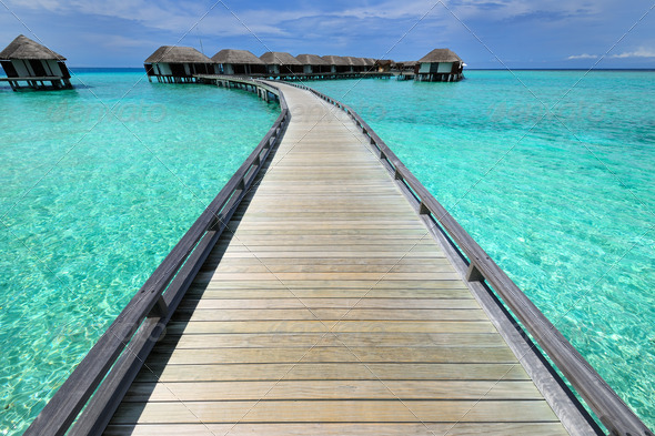 PhotoDune Beautiful beach with water bungalows 4229634