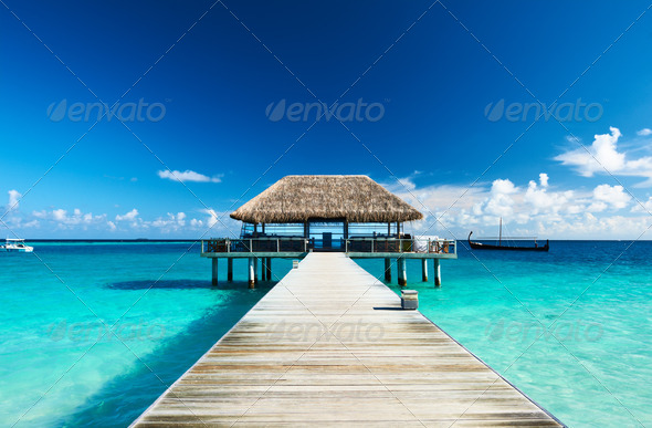 PhotoDune Beautiful beach with jetty 4229658