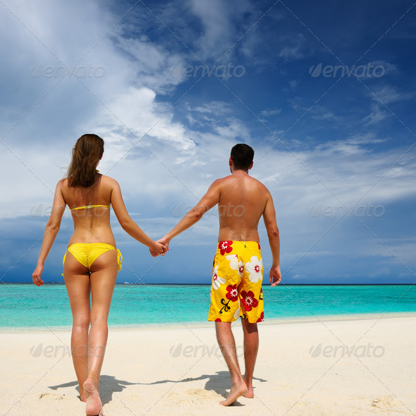 PhotoDune Couple on a beach at Maldives 4229693
