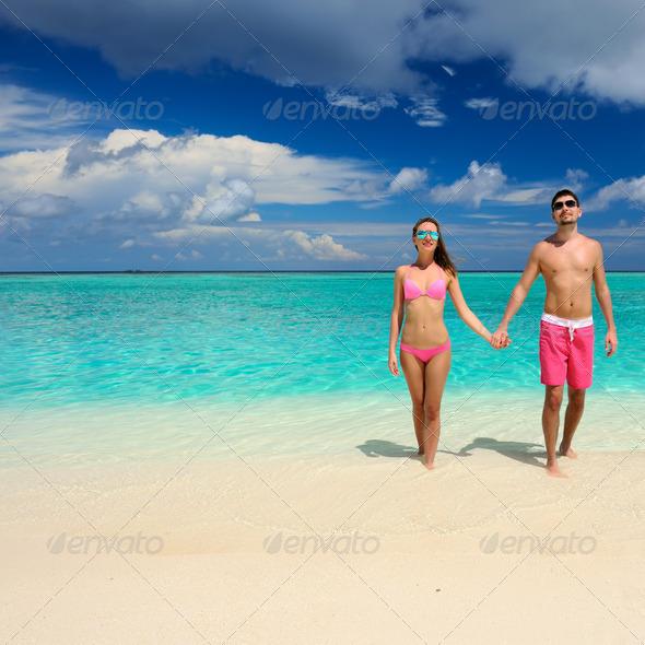 PhotoDune Couple on a beach at Maldives 4229703