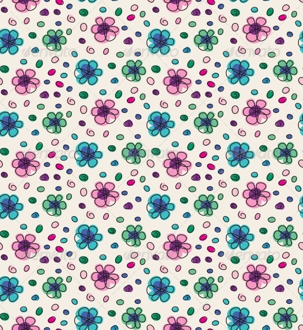 GraphicRiver Funny Colorful Seamless Pattern with Flowers 4228304