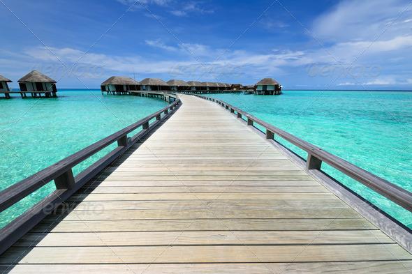 PhotoDune Beautiful beach with water bungalows 4229719