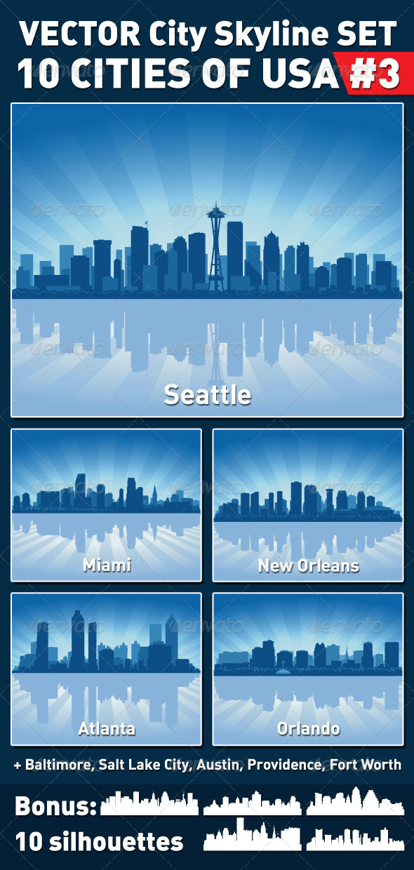 GraphicRiver Vector City Skyline Set USA #3 4229567