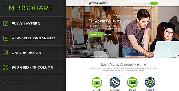 ThemeForest Timessquare Premium PSD Landing Page 4221074