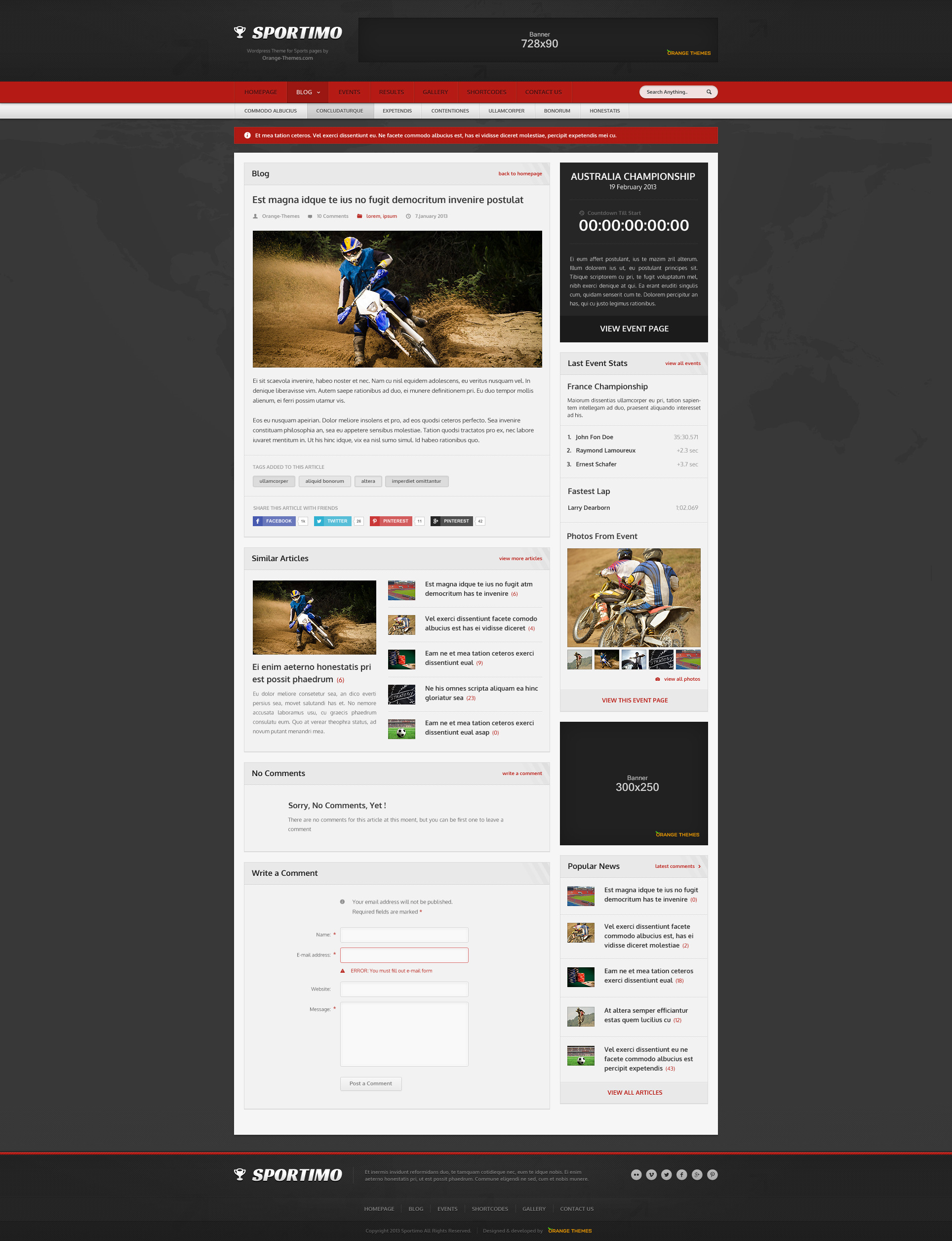 Sportimo - Sport & Events Magazine Theme