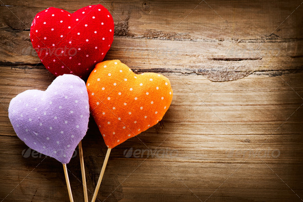 Valentines Vintage Handmade Hearts over Wooden Background - Stock Photo - Images