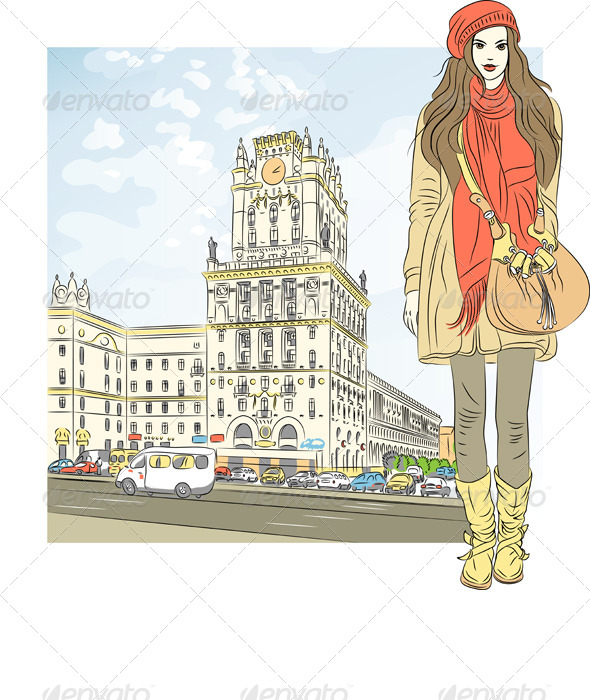 Vector Sketch of a Girl in the City-Center - People Characters