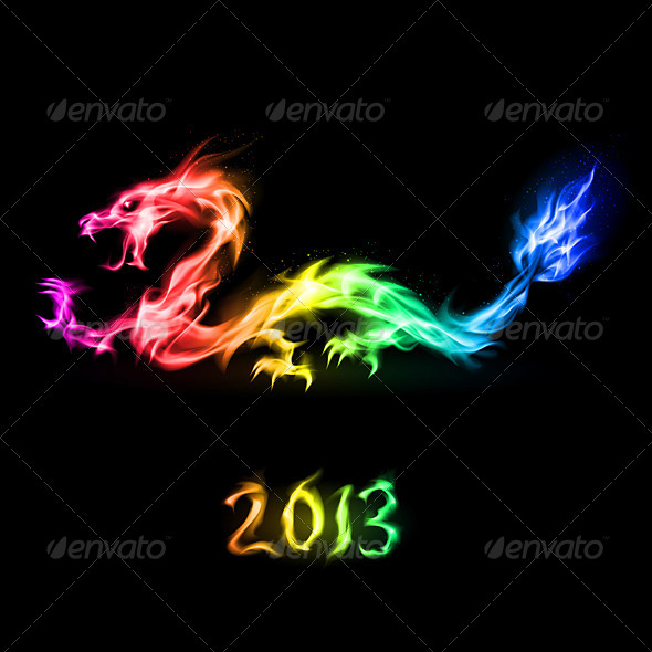 GraphicRiver Fire Rainbow Dragon 4235813