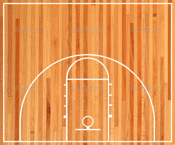 Basketball Court Floor Plan On Parquet Background Stock