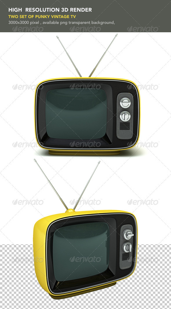 Vintage Yellow TV - Objects 3D Renders