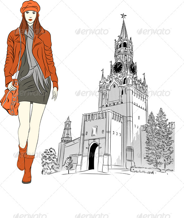 Vector Sketch of a Fashion Girl in Moscow - People Characters
