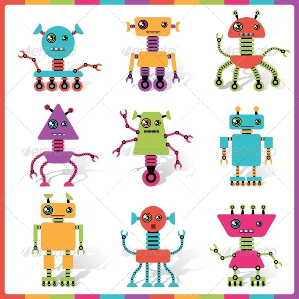 GraphicRiver Abstract Robot Doodle Collection 4240461