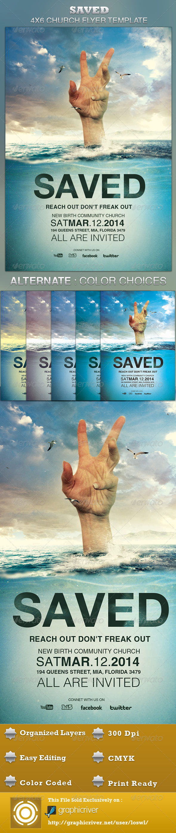 Saved Church Flyer Template - Church Flyers