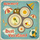 Summer Vacation Card in Vintage Style - GraphicRiver Item for Sale