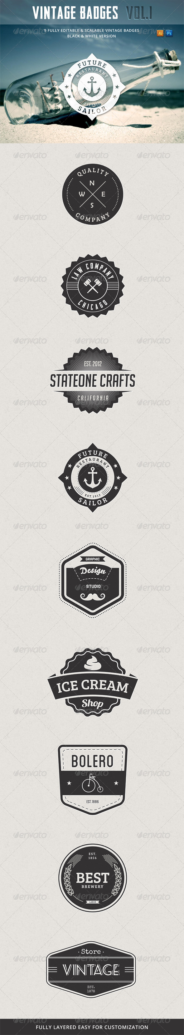 GraphicRiver Retro Vintage Badges Vol.1 4242149