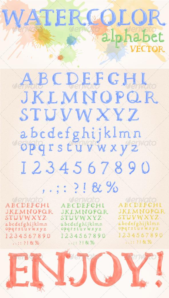 GraphicRiver Watercolor Alphabet 4242544
