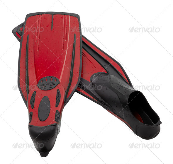 Pair flippers for diving with water drops - Stock Photo - Images