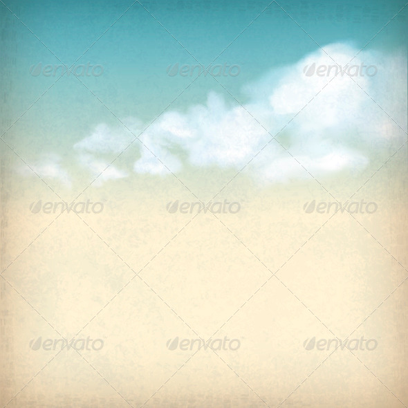 GraphicRiver Vintage Sky Clouds Old Paper Textured Background 4245677